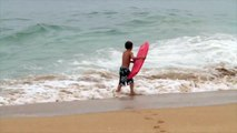 THE WEDGE LIttle Kid Gets Worked In Wedge Shorebreak!