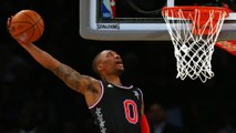 Russell Westbrook Hits His Head on Backboard Finishing Alley-Oop