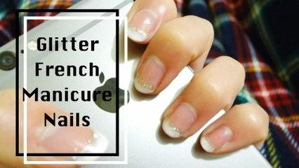 Easy Glitter French Manicure Nails 簡易閃粉法式指甲 - Spaceforher