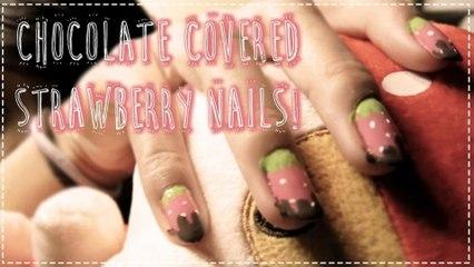 Chocolate Covered Strawberry Nails | Hellosharla