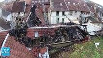 Images aériennes après le violent incendie de Bar-sur-Seine