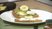 Avocado Toast Topped with Sliced Hard Boiled Eggs