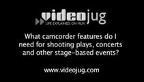 What camcorder features do I need to shoot concerts and plays?: Camcorders And Your Needs