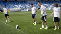 Real Madrid's Bale, Benzema, Modric & Jese show amazing rugby skills!