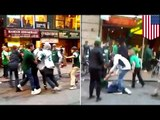 New York Jets fight: St Patrick's Day brawl caught on video mars celebrations in New York City