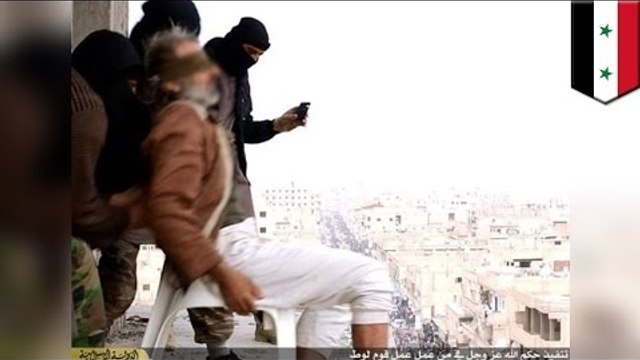 ISIS throw man off building for being gay, crowd stones him to death