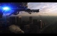Skyline Nuke Scene with Predator Drones and Stealth Bomber Fighter UAV