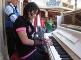 Asian Punker Girl Owning At Disneyland Piano