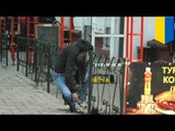 Shocking suicide by fence photos: Ukraine man kills self with iron fence over fast food wait time