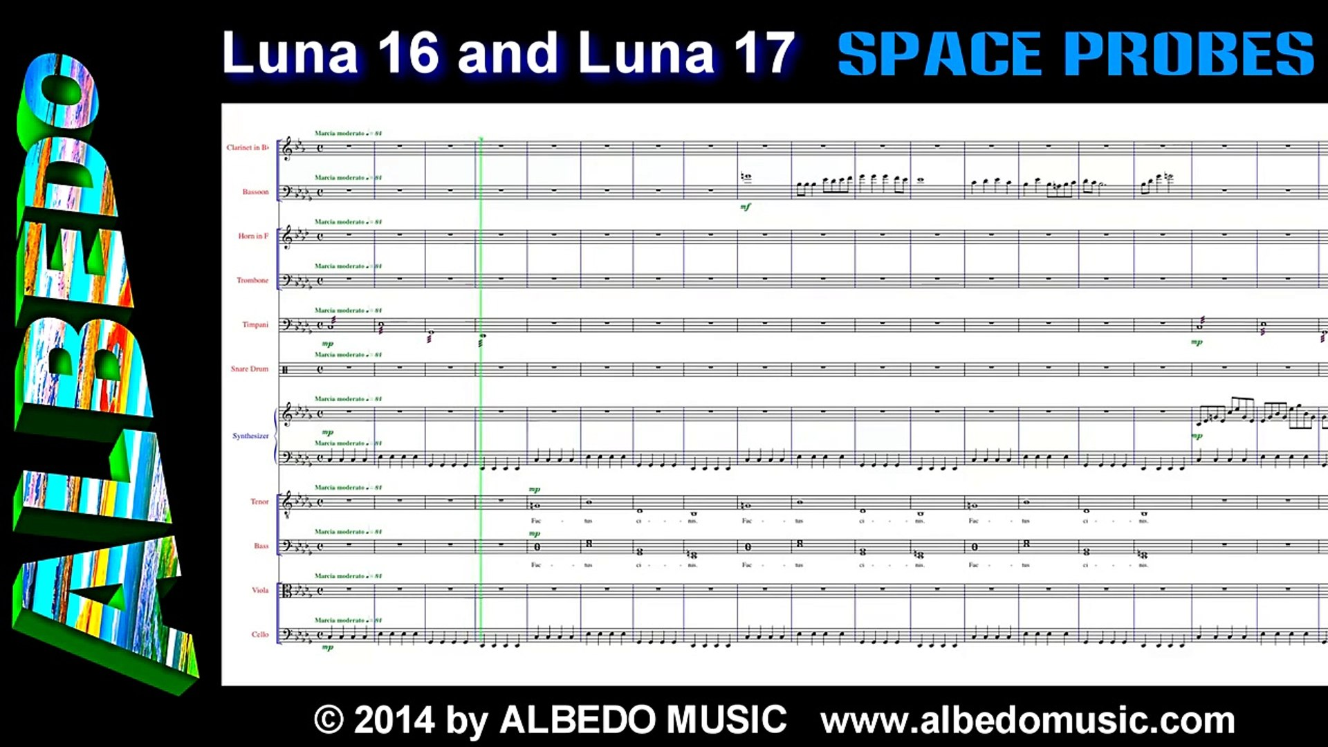 Luna 16 and Luna 17 from Space Probes by ALBEDO. Scrolling Sheet Music. New Age Space Music.