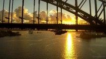 Sydney Harbour Bridge with a drone and Sydney Opera House - Sunrise