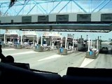 Crossing over Bridge of Normandy in Le Havre (France)