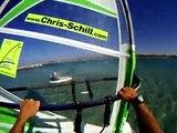High Speed Windsurfing with Crash on Karpathos in Greece