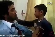 papa   slaps his son and son slap his dad very funny