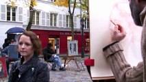 Portrait demonstration by place du tertre artist Samuel.