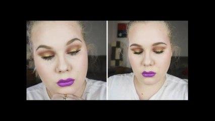 Bold Gold Eyeliner & Bright Purple Lips!