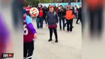 Police Officer female Keepie-Uppie Skills with kids before FA Cup Semi Final