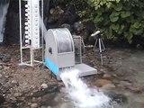 090808コアレス発電機のフィールドテスト small hydroelectric power generator