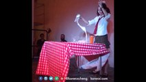 Amazing performance of a Girl dancing like a robot and having breakfast