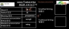 Gab Gab Lesson 4 radical of sun 旺 Mandarin, Cantonese & English