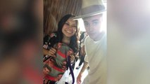 Belieber brings Justin Bieber mugshot backpack to her meeting with the singer
