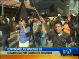 Continúan las marchas en La Mariscal por cambios de horario de atención