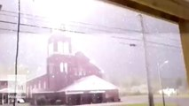 Camera captures lightning striking a church in Maine