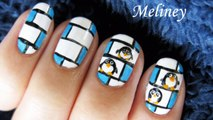 Cute Winter Nail Art - Penguin Hotel Animal Tutorial Design Freehand tux happy feet
