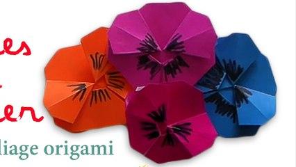 origami pensée, fleur en papier
