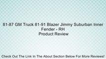 81-87 GM Truck 81-91 Blazer Jimmy Suburban Inner Fender - RH Review
