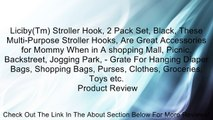 Liciby(Tm) Stroller Hook, 2 Pack Set, Black, These Multi-Purpose Stroller Hooks, Are Great Accessories for Mommy When in A shopping Mall, Picnic, Backstreet, Jogging Park, - Grate For Hanging Diaper Bags, Shopping Bags, Purses, Clothes, Groceries, Toys et
