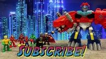 Transformers Optimus Primal with Batman and Superman Optimus Prime Transforms into Dinosau