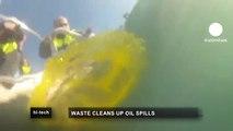 euronews hi-tech - Einmal wisch und weg - Papierschwamm gegen Ölpfütze