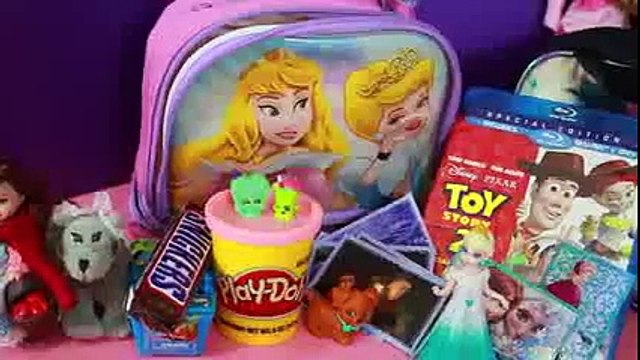 Surprise Box Opening Surprise Lunch Boxes Disney Princess Aurora VS Maleficent Play Doh Frozen Toys