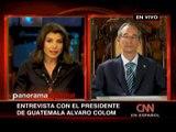 Presidente Álvaro Colom en entrevista con CNN