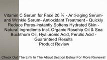 Vitamin C Serum for Face 20 % - Anti-aging Serum-anti Wrinkle Serum- Antioxidant Treatment - Quickly Reduce Pores-instantly Softens Hydrated Skin - Natural Ingredients Incl. Organic Rosehip Oil & Sea Buckthorn Oil, Hyaluronic Acid, Ferulic Acid - Guarante