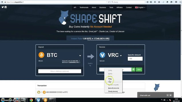 ShapeShift Instant Exchange. Converting BitCoin to VeriCoin