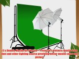 LimoStudio Photography 10'x10' Double Muslin Black White Green Chromakey Backdrop Support Kit