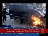 أحدث طريقة للتدفئه فى الأسكندرية حرق سيارات الشرطه التى تهاجم المتظاهرين