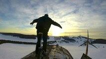 Unicyclist Performs Stunts On Abandoned Wind Turbine