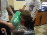 Tim getting Shrink wrapped