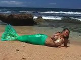 Close up of the Maui Mermaids Custom Mermaid Tail on the Beach in Hawaii