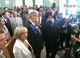 Atjaunotā Rīgas sinagoga pulcē politiķus, prezidentu, diplomātus