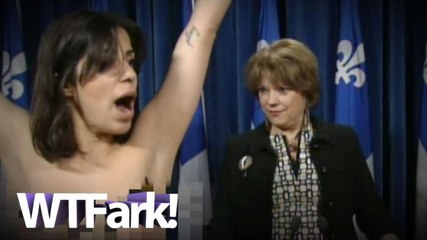 Topless Protester Interrupts Live CBC Press Conference In Quebec