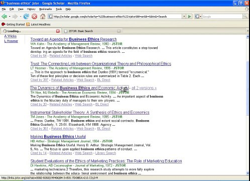 Google Scholar and JSTOR