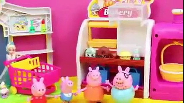 Peppa Pig Shopkins Surprise Basket with Disney Frozen Elsa and Anna and Daddy Pig Open Sho