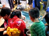 Golden Fish Catch Game at Kamogawa Noryo Festival Kyoto Japan 2011 Aug.06