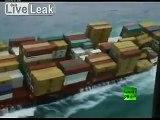 Cargo ship losing cargo