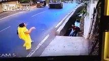 Dunya News - Biker crashes into an auto-rickshaw, landing in a ditch