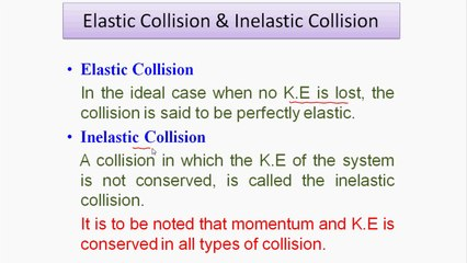 Elastic Collision And Inelastic Collision Video Dailymotion